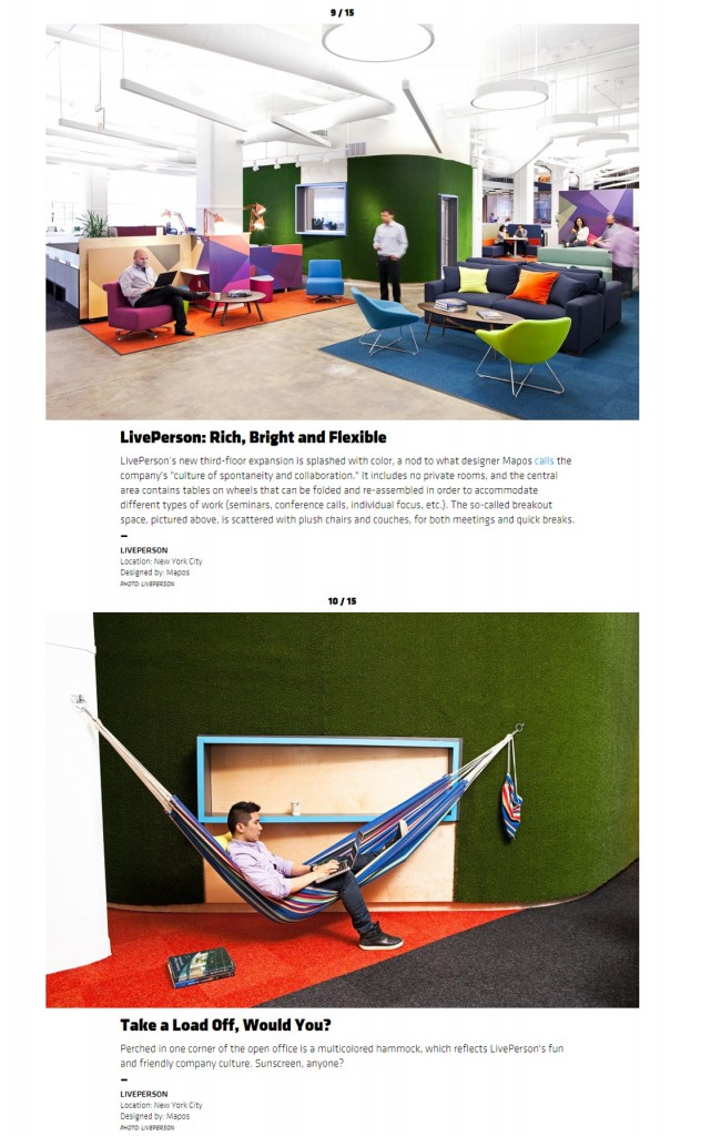 Liveperson featured in worlds coolest offices brilliant interior designs